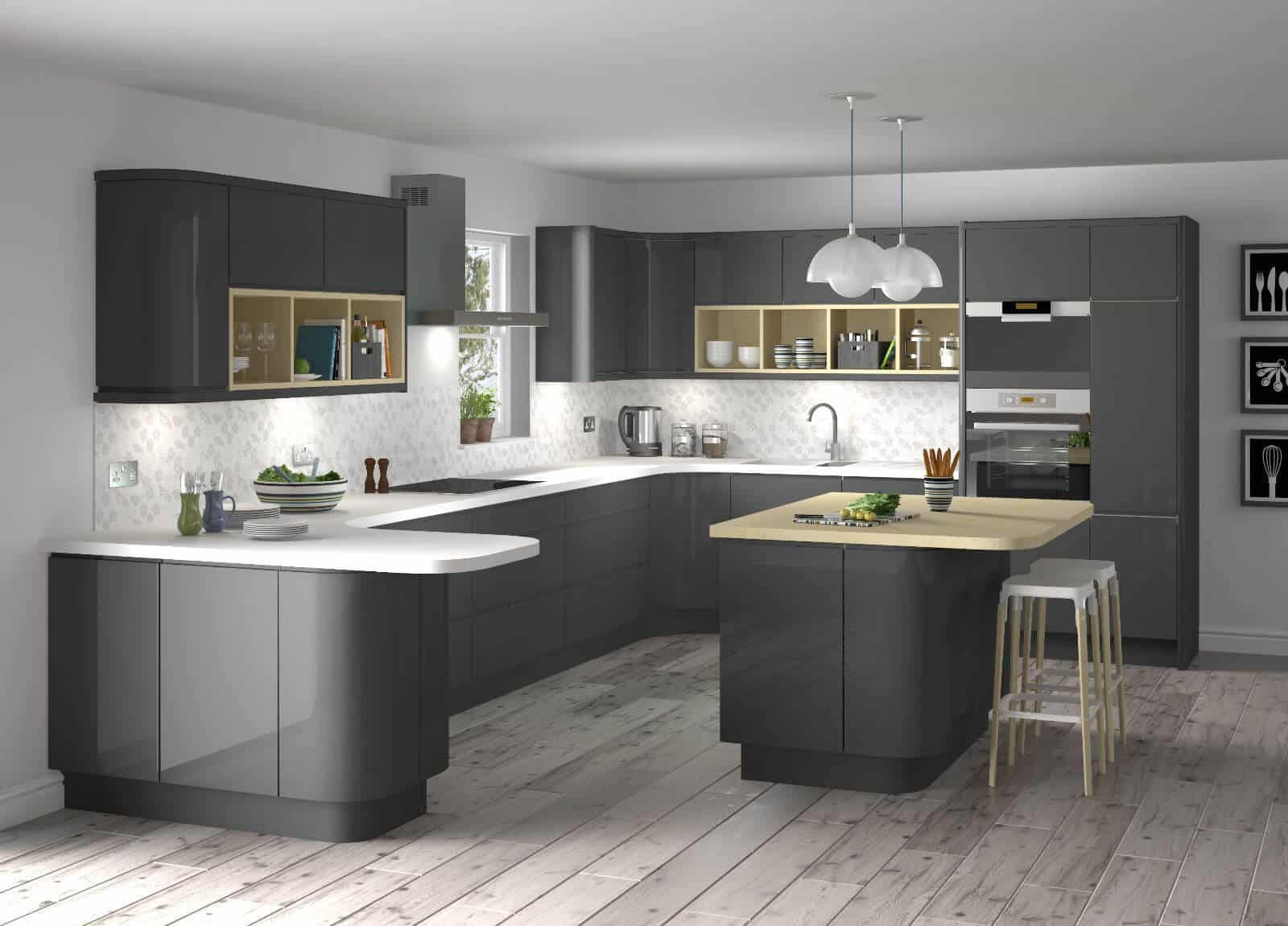 Delicieux 28 Nov High Gloss Grey Taupe Gloss Kitchen Matt Grey Kitchen Cupboards